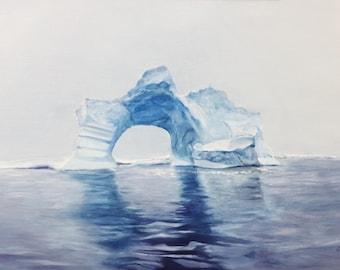 Original landscape oil painting, Iceberg, contemporary