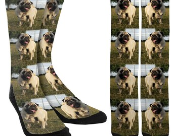 Happy Pugs Crew Socks - Pug Socks - Socks with Pugs - Dog Socks - Funny Socks - Crazy Socks - Cute Socks - Novelty Socks - FREE Shipping B66
