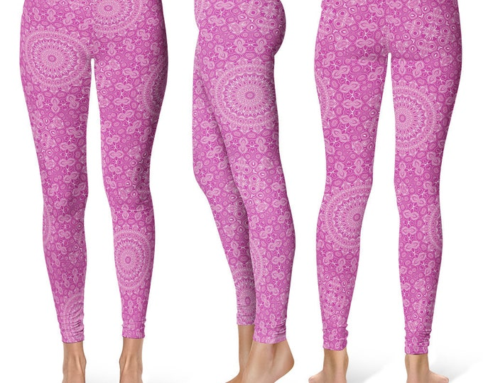 Pink Leggings Yoga Pants, Unique OOAK Gift, One of a Kind Clothing, Printed Yoga Tights for Women