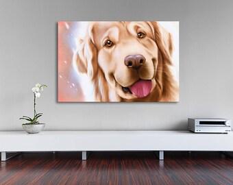 Happy golden retriever print on canvas