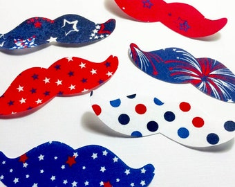 Fourth Of July Mustache Fabric Iron On Appliques