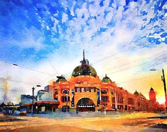 Flinders Street Station Melbourne Australia Original Watercolor Brush Illustration Painting