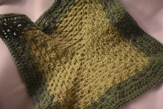 Light & Dark Sage Cat Mat -- Two-Tone Green Granny Square Style Pet Blanket