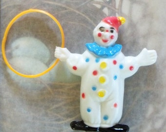 "Vintage / Clown with Hoop Cake Topper / 1960s / 3 1/2"" Height"