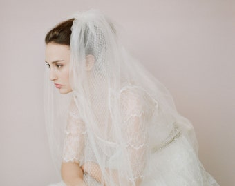 Bridal train veil  - Tulle and russian elbow veil - Style 426 - Made to Order