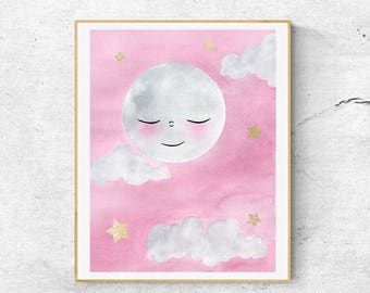 Pink Nursery Moon Art, Stars And Moon Watercolor Art, Watercolor Print, Nursery Art Print, Goodnight Moon, Hand Finished With Gold, Moon Art