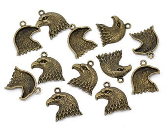 10 charms big-headed eagle metal bronze