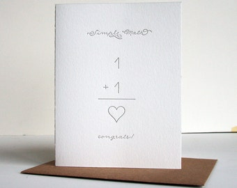 SALE Letterpress Wedding - Engagement Congratulations card - Simple Math Heart
