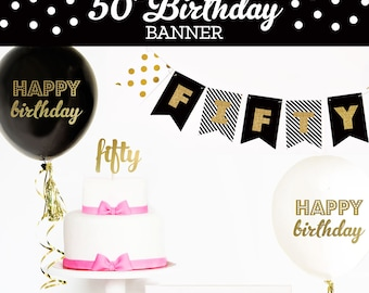 50th Birthday Banner Fifty Birthday Gold Glitter Banner