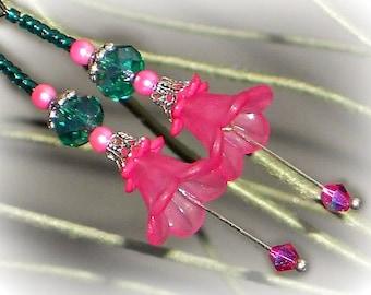 Pink Flower Earrings, Bell Flower Dangle Earrings, Hot Pink Flower Earrings, Pink And Emerald Earrings, Silver, Boho, BOTANICAL Collection