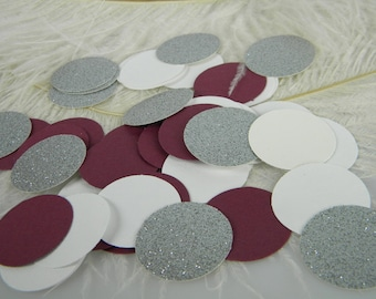 150 Silver Glitter Maroon and White Confetti Decoration, Table Scatter, Bridal Baby Shower Party Supplies, Invitation Stuffer Confetti