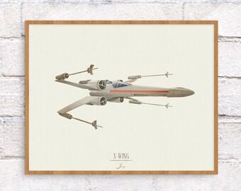 Star Wars X-Wing Illustration - 8 x 10 Art Print