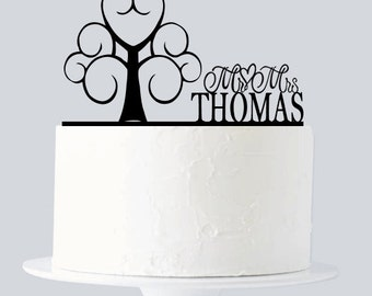 Love Tree Cake Topper, Tree Cake Topper with Custom last Name A286