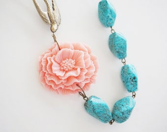 Statement Necklace Coral Pink Necklace Flower Necklace Bird Necklace Turquoise Necklace Bridesmaid Jewelry Bridesmaid Gift Bridesmaid Set