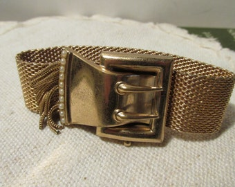 Vintage Gold Tone Metal Mesh Buckle Bracelet with Tassels and Pearls