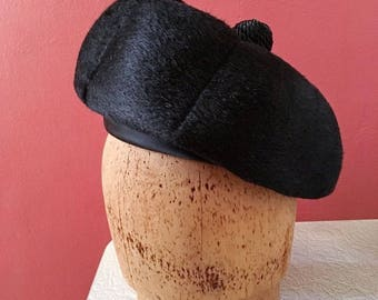 1950's Black Felt Tam with Braided Top Knot
