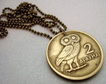 Coin Jewelry - Greek OWL of Athena COIN NECKLACE - 1973 Greek owl coin - phoenix rising - owl necklace - phoenix necklace - man necklace