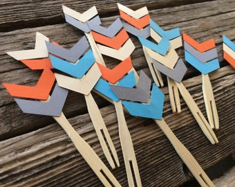 Tribal Party Cupcake Toppers - Arrows, Cupcake Toppers, Wild One Party, Birthday Party, Party Decorations