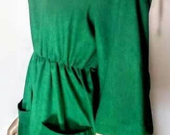 Linen loose dress with front pockets and hidden elastic band