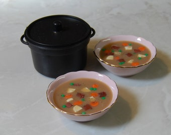 Beef Stew, Soup Pot and Two Bowls. Food For American Girl Dolls.