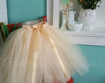 Beige Champagne Tulle Skirt - Sewn Champagne Tutu Skirt - Made to order - Flower girl, special occasion, bridal party, latte colored