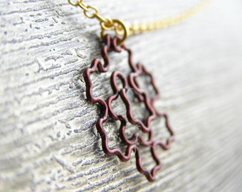 Fractal Necklace - Koch Snowflake Fractal in Cocoa Brown