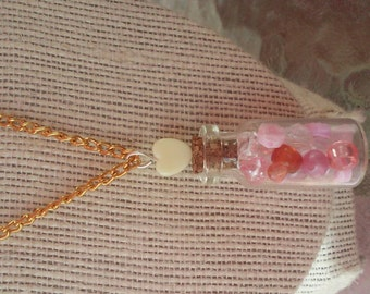 Sweet heart cute vial pink charm necklace
