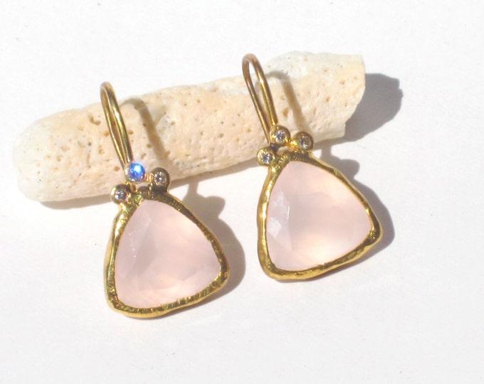 Rose Quartz Earrings--Rose Quartz Diamond Earrings--Pink Quartz Earrings