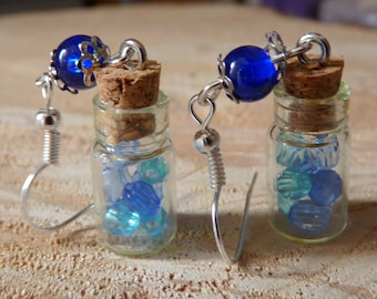 EARRINGS * p' little vial with blue beads * silver backed