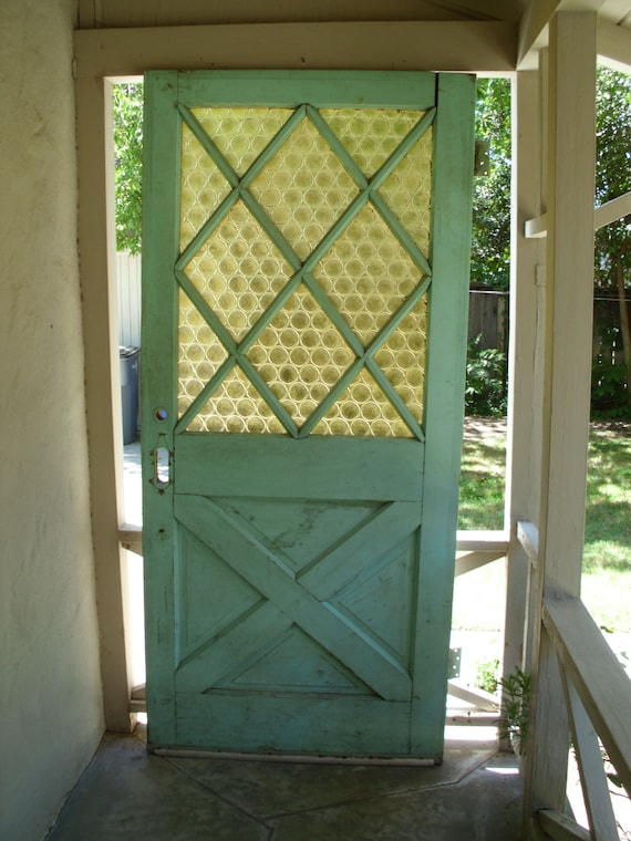 Vintage Exterior Front House Door // Green Solid Wood Glass
