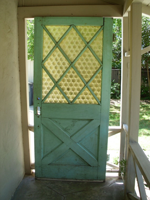 Vintage Exterior Front House Door Green Solid Wood Glass