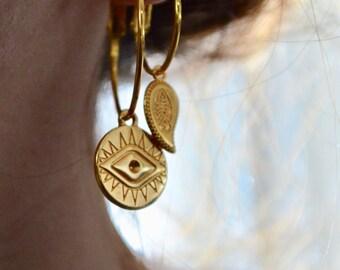 Evil eye coin charm gold hoop earrings