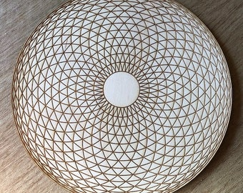Torus Yantra Crystal Grid - Hypnotic Eye - 3, 6, 9, or 12 Inches - Wooden Crystal Grid - Sacred Geometry - Wood Crystal Grid