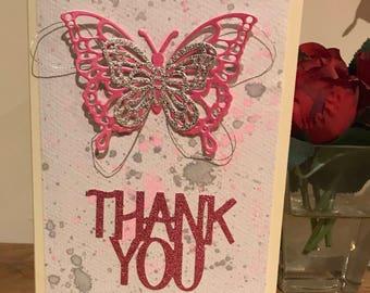 Handmade  butterfly thank you card