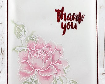 Embossed Flower Thank You Greeting Card
