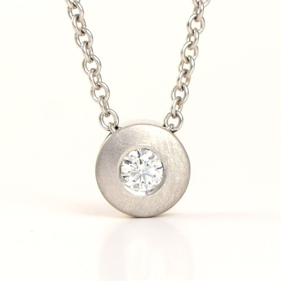 Platinum diamond solitaire necklace unique diamond slide like this item aloadofball Images