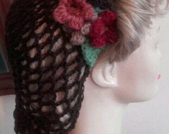 1940s hairnet, vintage style snood,crochet snood,dark Brown hairnet, brown snood