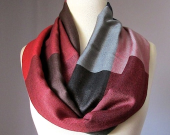 Color block scarf, infinity scarf, silky, autumn scarf, pashmina, red scarf, brown scarf