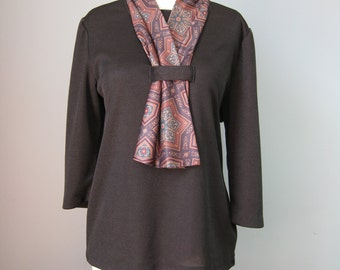 """Black Top with Scarf / Vtg 70s / """"Nancy II Petite"""" knit black top with attached paisley scarf"""