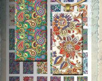 Paisley -  1x2 inch Digital Collage Sheet Printable Download for domino pendants magnets