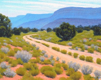 Utah 'Rock Springs Ranch Road' - original landscape painting - western art - plein air - blue mountains - oil - wall art - free shipping