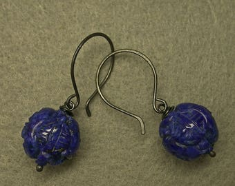 Vintage Carved Lapis Bead AA Gem Grade Dangle Drop Earrings, Chinese Shou Symbol ,Handmade Sterling Silver French Ear Wires - GIFT WRAPPED