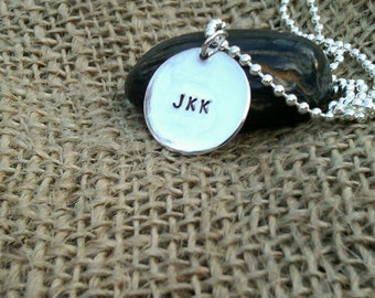 Monogram Necklace Charm Sterling Silver