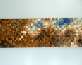 "Mosaic Wood Art, Ready to Ship, wood wall art, geometric art, large art painting on wood - ""Fighting River"""