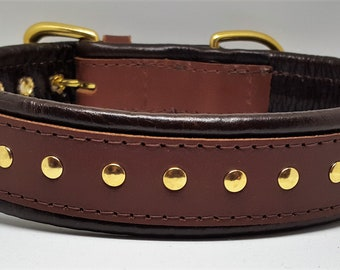 Tan and Brown studded leather dog collar with solid brass hardware and brown stitching