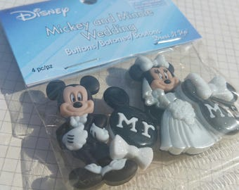 "Disney Buttons - Mickey and Minnie Mouse Wedding Buttons - Sewing Bulk Button - 1 1/2"" Tall - 4 Shank Buttons"