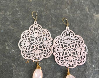Rose Gold Patina and  Pink Chalcedony India Style Filigree  Dangle Earrings  Shabby Chic Patina  Boho  Lightweight Statement Earrings