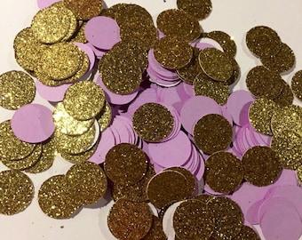 250 pcs party confetti, gold and lavendar confetti, circle confetti