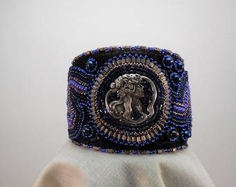Naiad I:  A Bead-Embroidered Cuff Bracelet