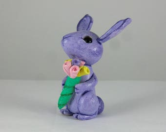Polymer Clay Rabbit with Flowers